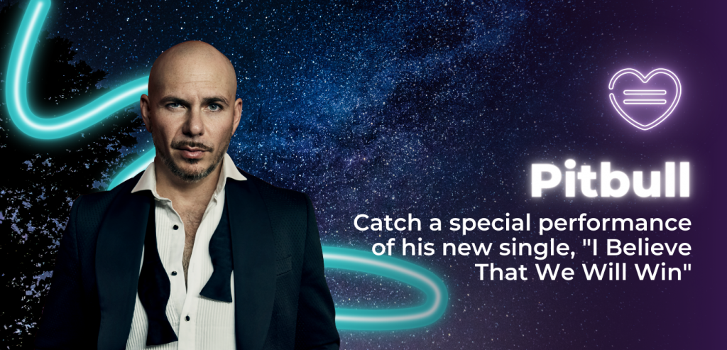 "Image of Pitbull with the text ""catch a special performance of his new single, ""I Believe That We Will Win"""