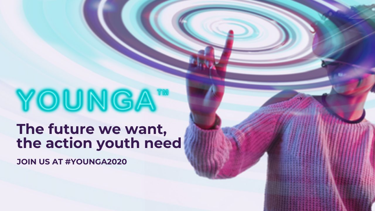 Younga image with girl wearing a VR headset and text saying: The future we want, the action youth need. Join us at Younga 2020
