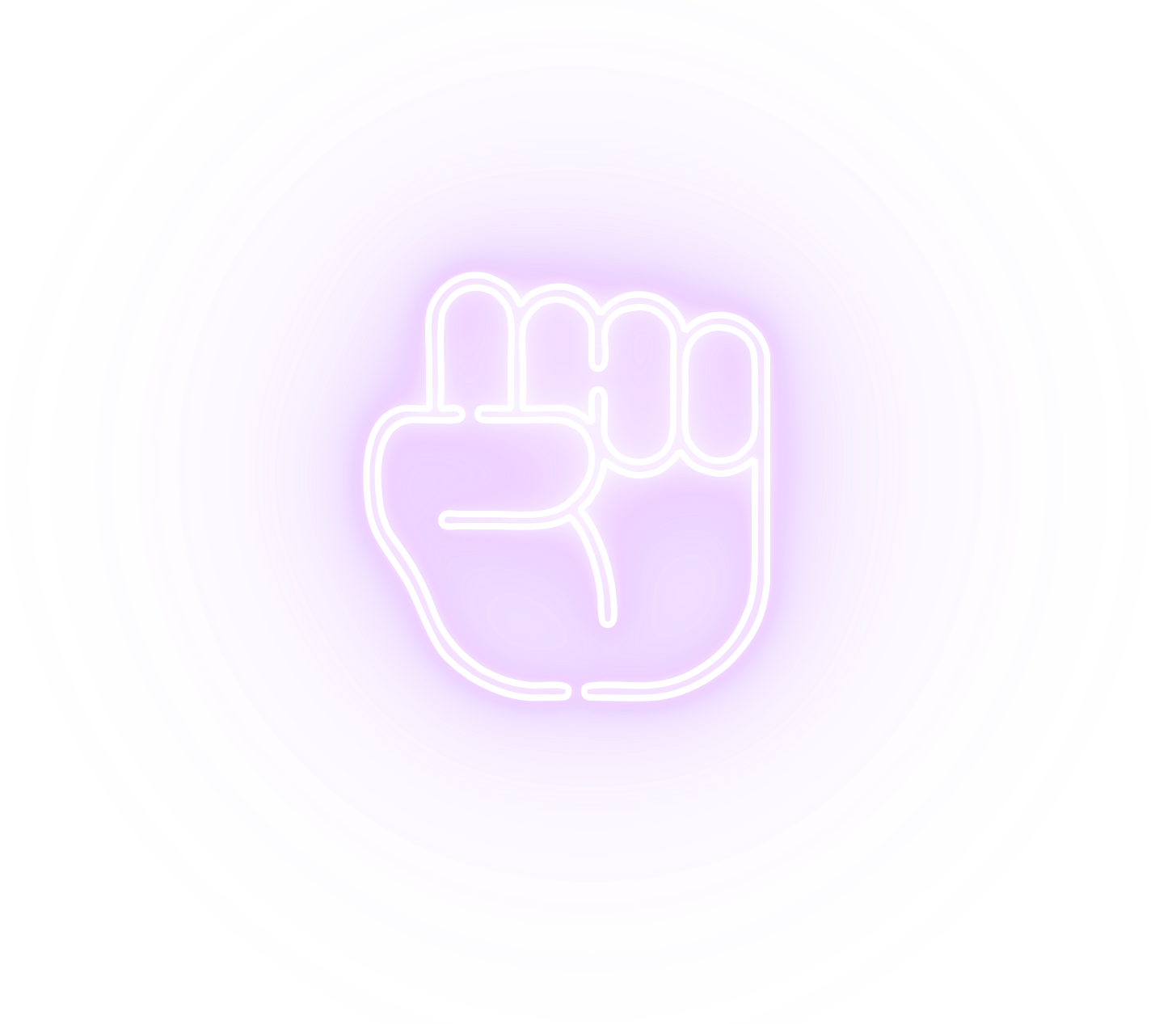 neon icon of a fist raised representing peace and social justice
