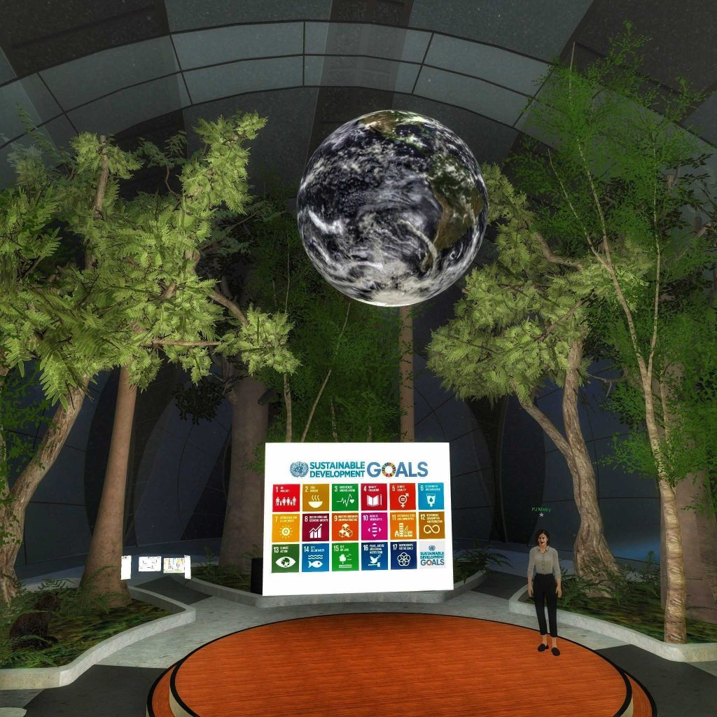 Screenshot of the Engage VR platform showing Alexandra Robinson the 2020 Global President of AISEC speaking at Younga 2020