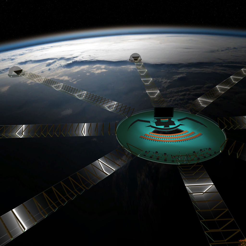 Screenshot of the Engage VR platform showing the Younga 2020 main hall, the bridges leading to the Younga thematic rooms, and planet Earth in the distance