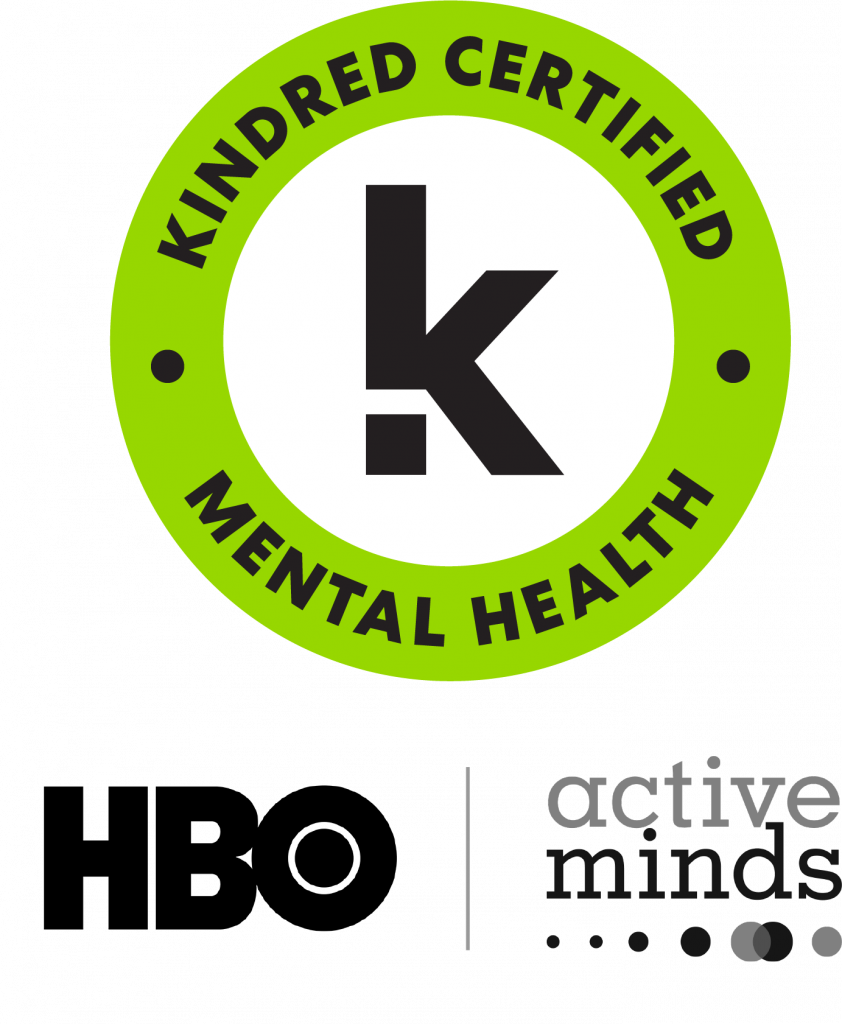 """Logo for Kindred stating """"Kindred Certified"""" and """"Mental Health"""" as well as the HBO logo and Active Minds logo"""