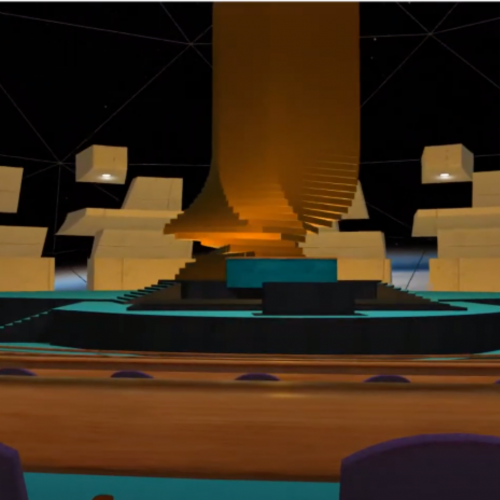 Screenshot of the Engage VR platform showing the stage in the main hall for Younga 2020